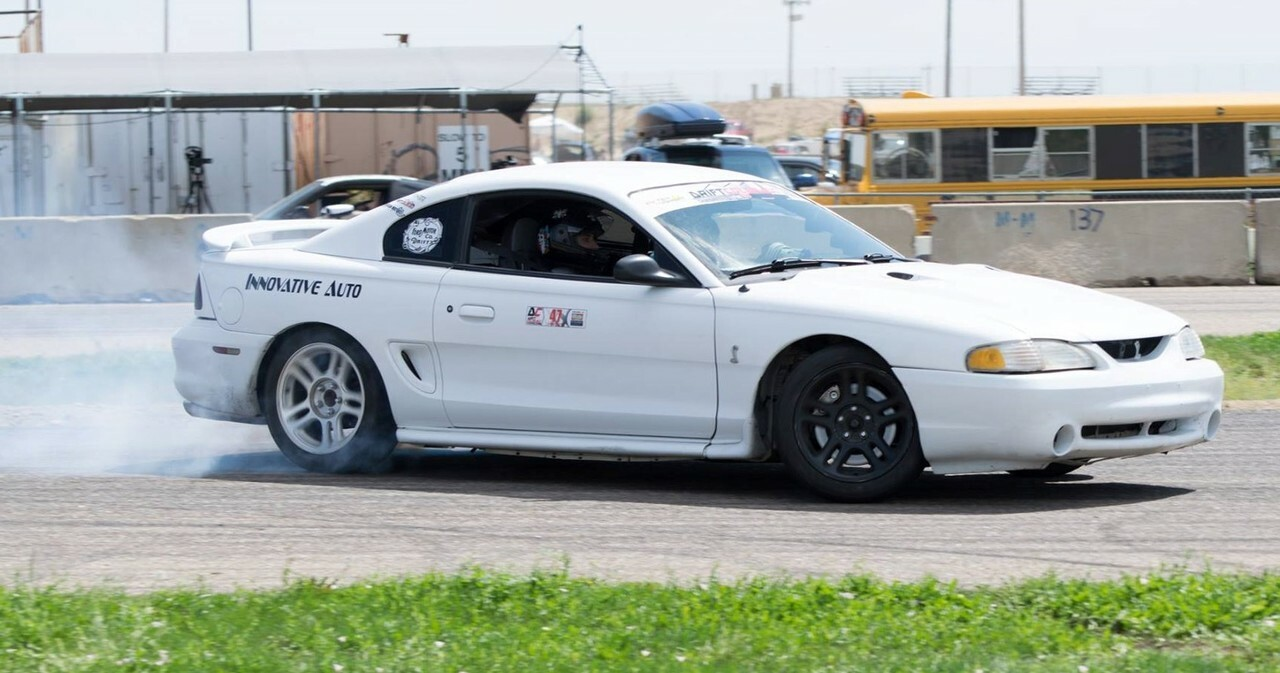 Scott Umbreit runs a Massive Designs angle kit on his 96 Cobra that he competes with in the Drift Colorado series.