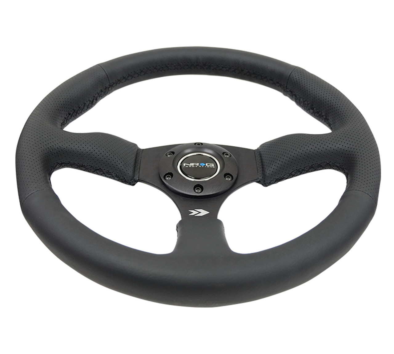 "350MM Sport 2.5"" Deep Dish Reinforced Steering Wheel wrapped in Leather"