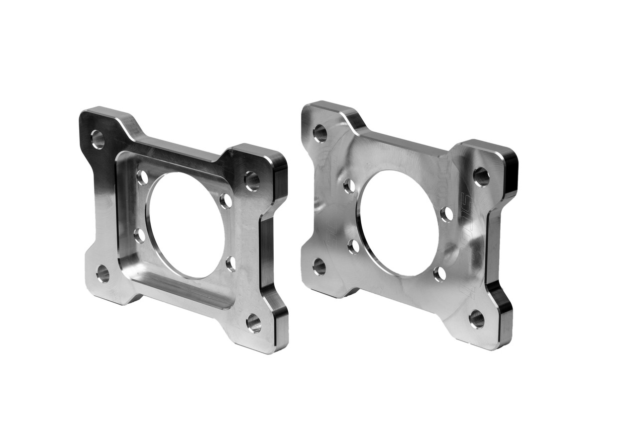 There are five different dual caliper bracket options available! These are the 94-04 V6/GT Mustang Dual Caliper Brackets.