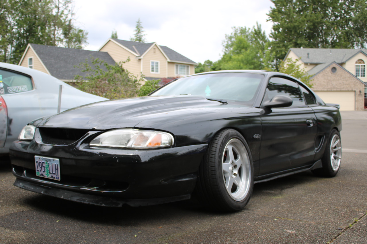 The 96-04 Mustang Quick Angle  Adaptor Kit is pictured here installed on an sn95 Mustang GT.