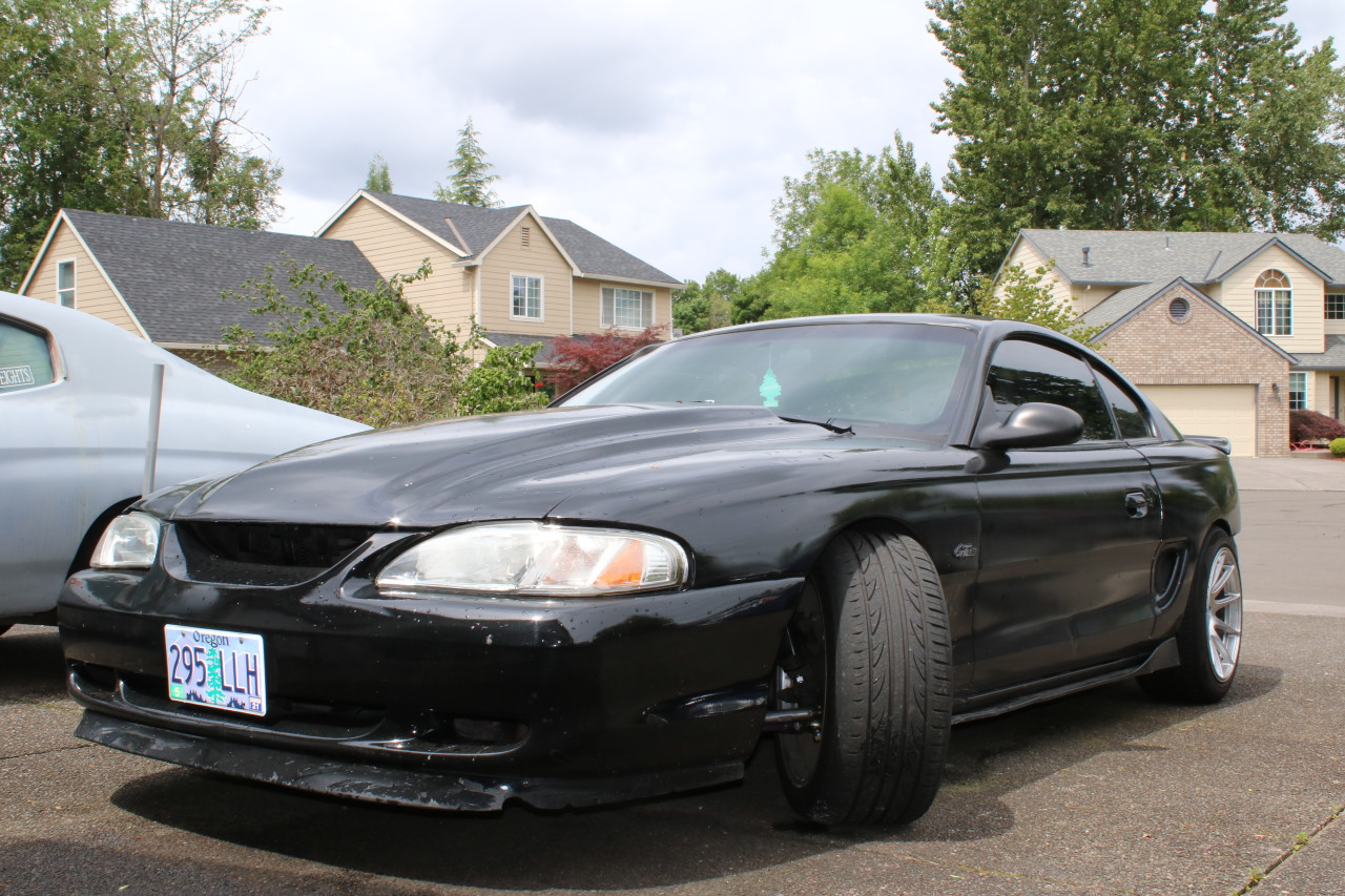 The 79-04 Mustang Quick Angle Adapter Kit is pictured here installed on an sn95 Mustang GT.