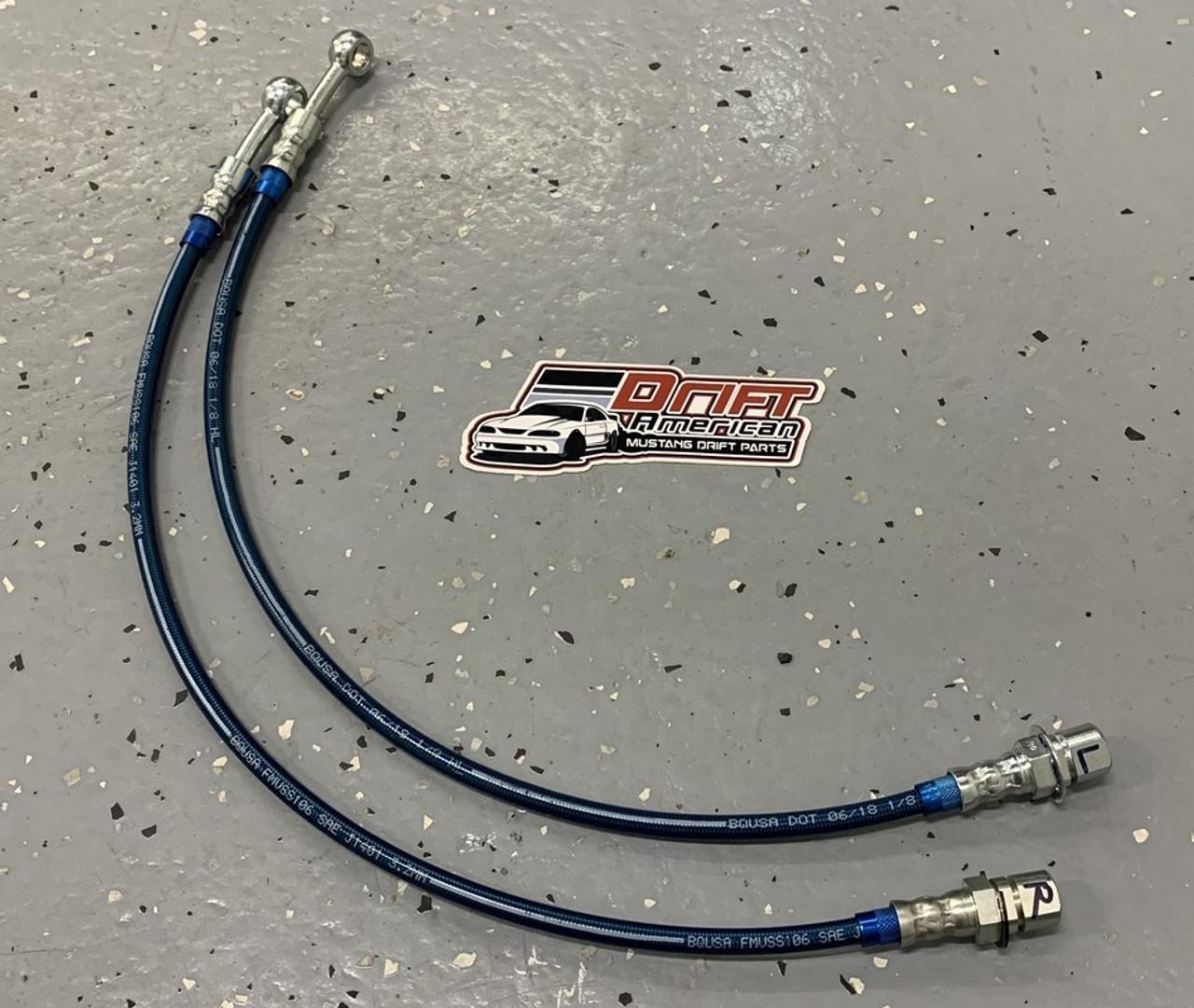 Drift American Extended Length Steel Braided Brake Lines for 79-04 Mustang shown in Blue