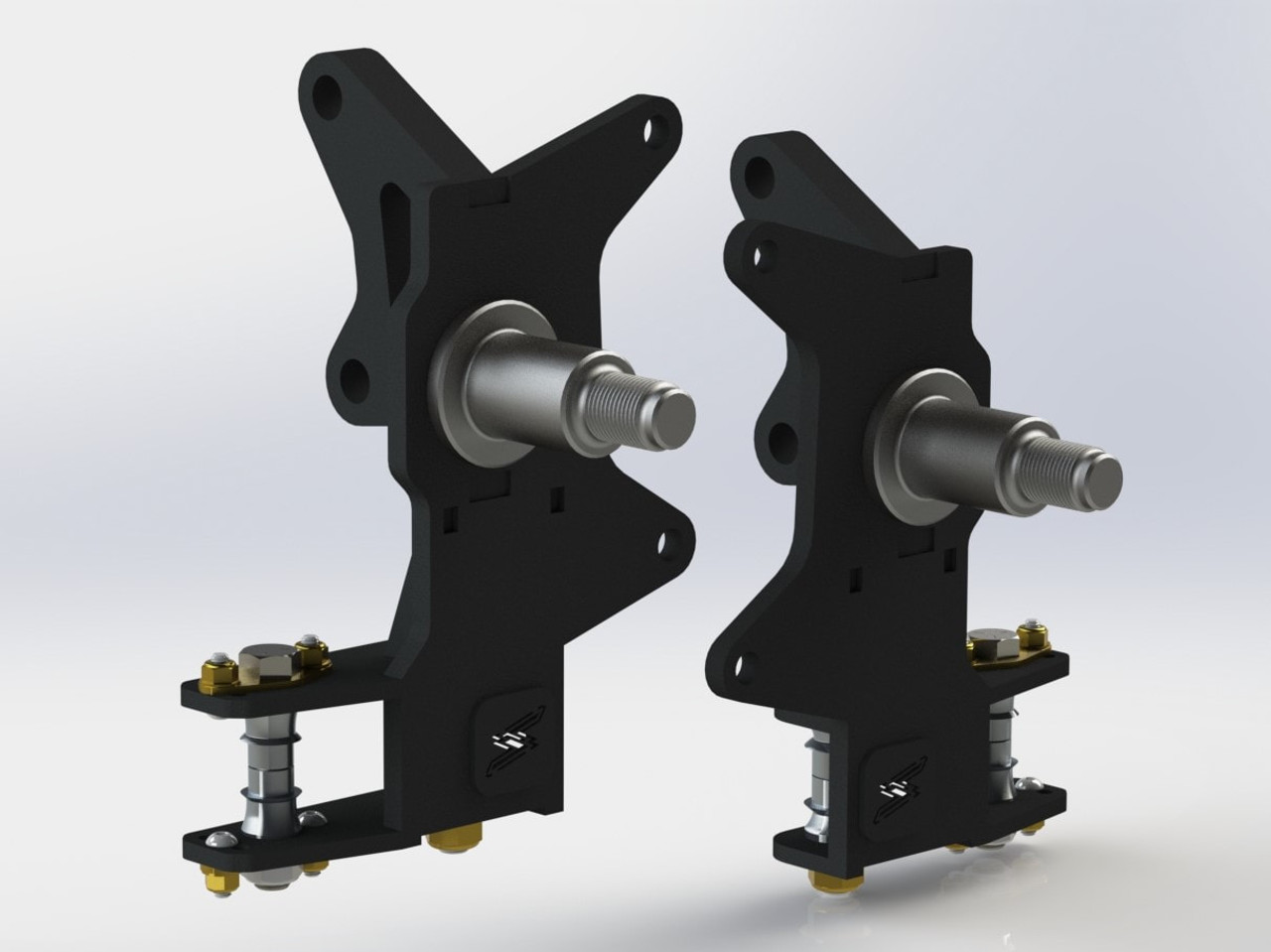 A close up of the spindles in the 999 Angle Kit for 2005-2014 Ford Mustang