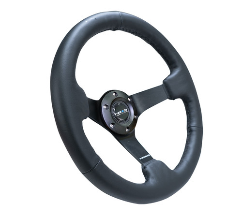 "330MM Sport 3"" Deep Dish Reinforced Leather Steering Wheel"