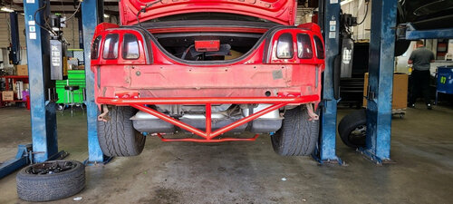 94-04 Mustang Rear Bash Bar in Red without rear bumper cover.