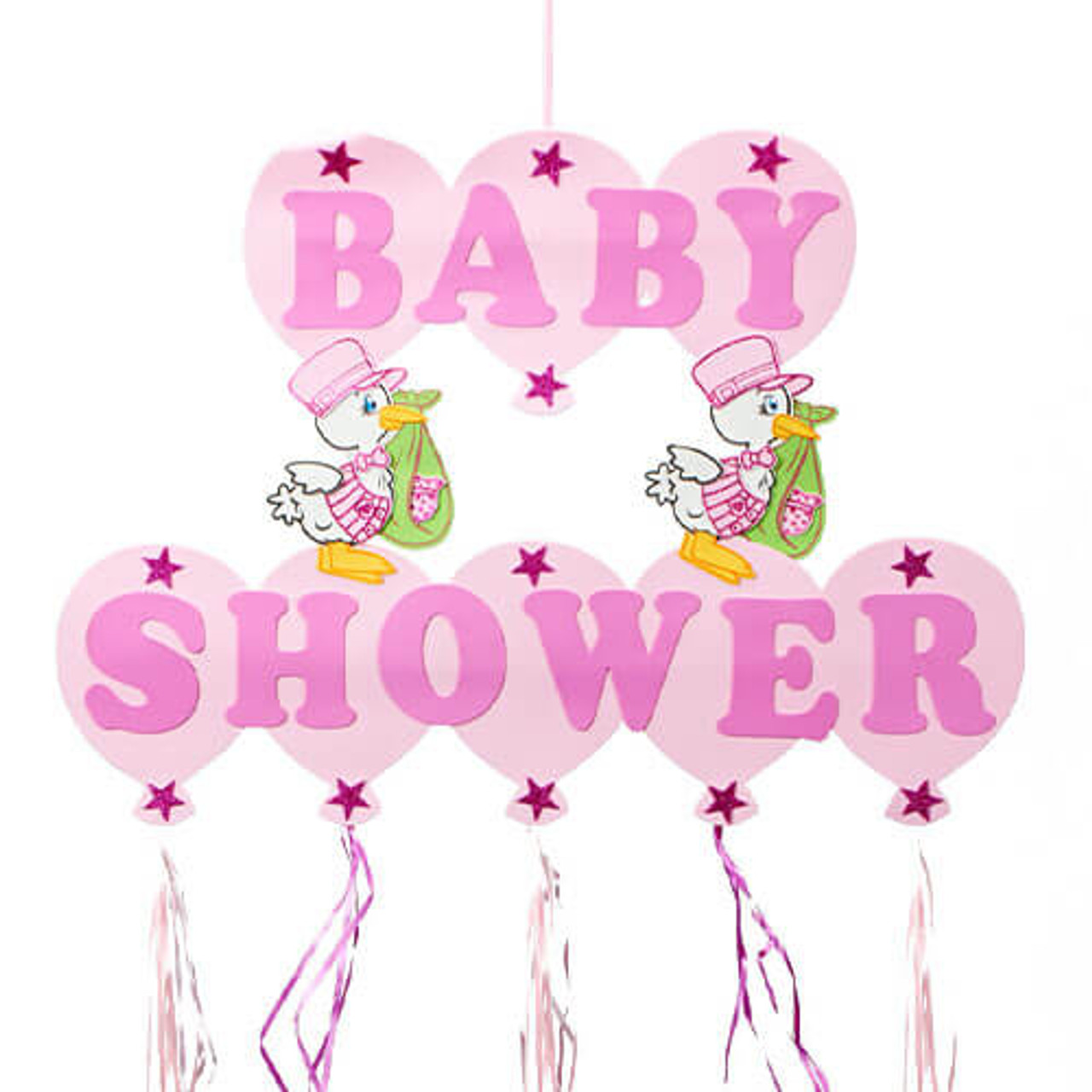 Pink Stork Baby Shower Sign Discount Party Warehouse
