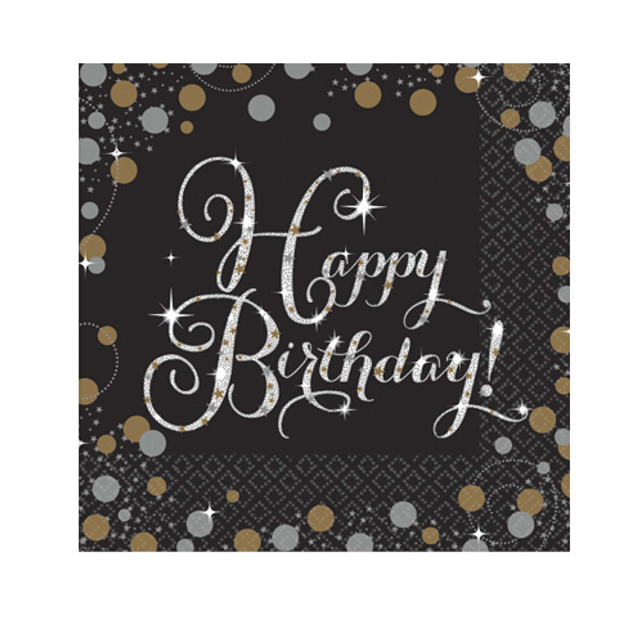 Sparkling Celebrations Happy Birthday Cocktail Napkins 16pk Discount Party Warehouse