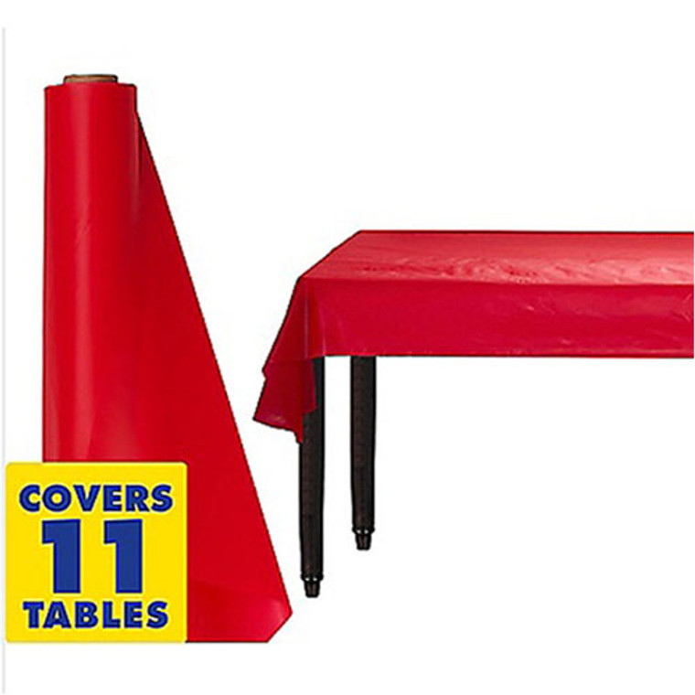 Red Plastic Table Cover Roll 30m