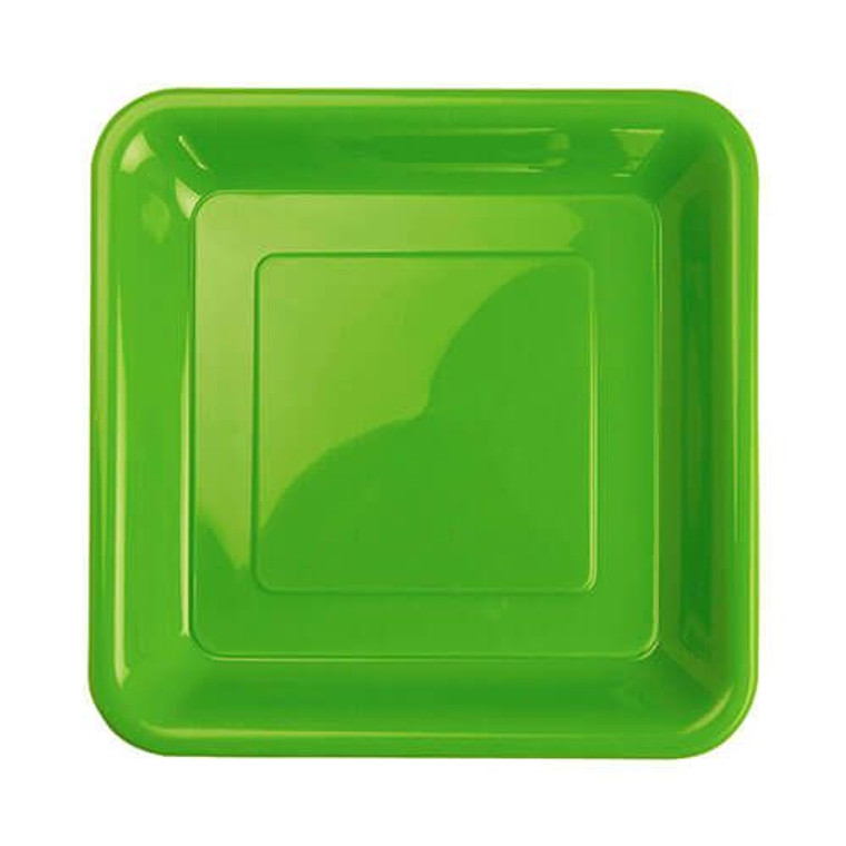 Lime Green Plastic Plates Square Snack 18cm 20 Pack