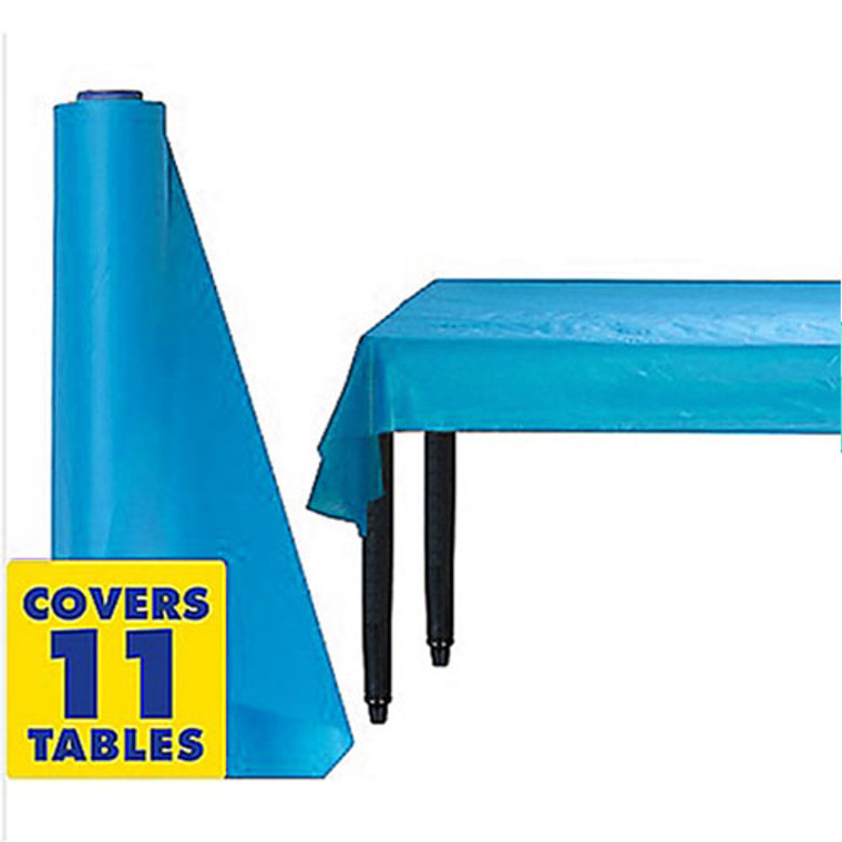 Electric Blue Plastic Table Cover Roll 30m