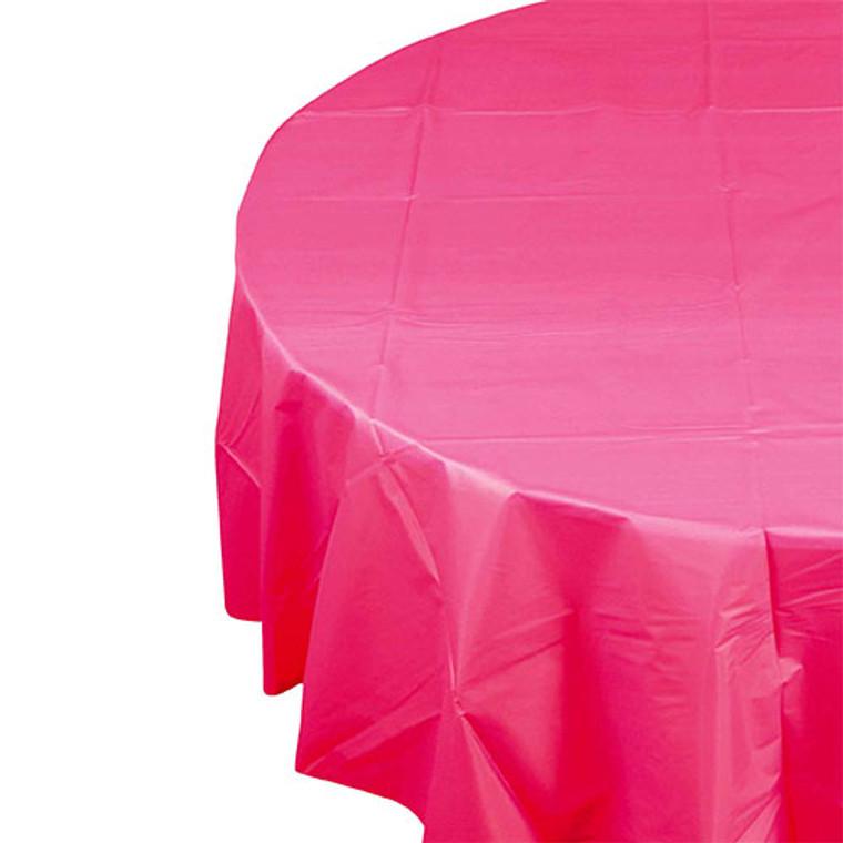 Magenta Plastic Table Cover Round 213cm