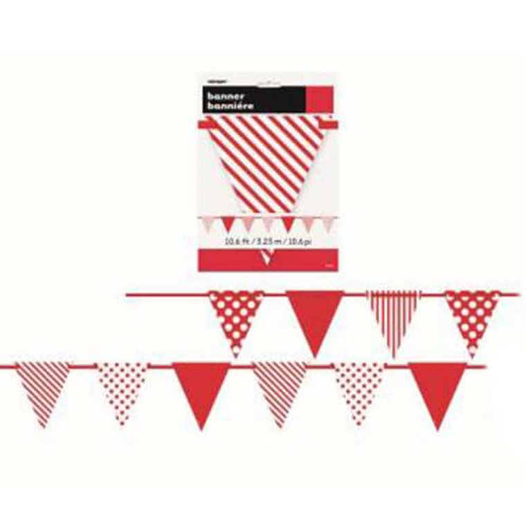 Decorative Bunting Dots and Stripes - Red 3.23m