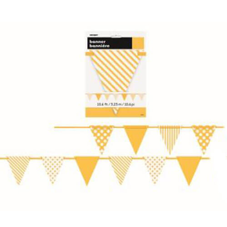 Decorative Bunting Dots and Stripes - Yellow 3.23m