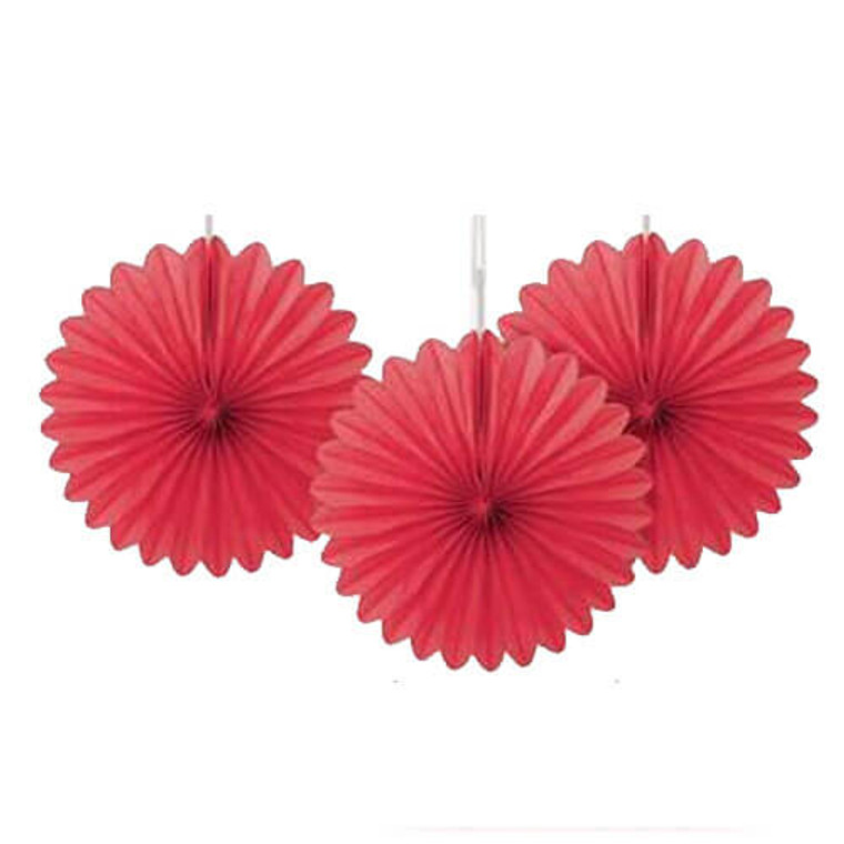 Decorative Fans - Mini Set of 3 - Red
