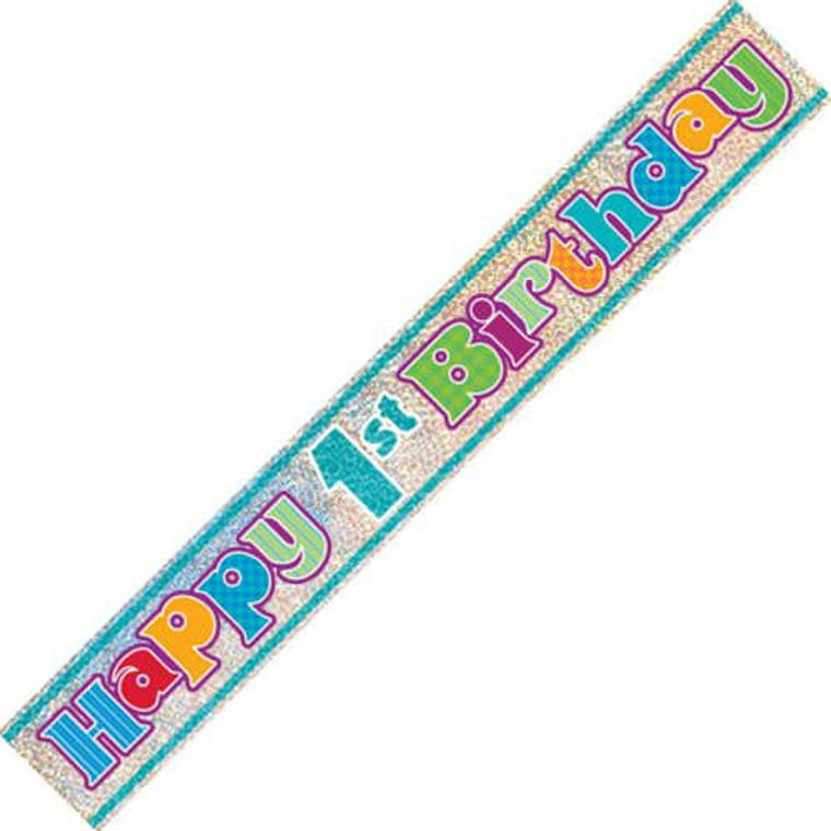 Foil Banner - Happy 1st Birthday Blue Prismatic