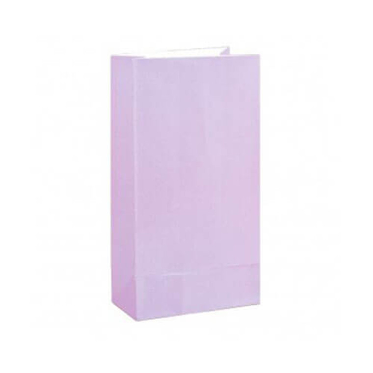 Lilac Paper Lolly Bags - 28cm x 14cm 12 Pack