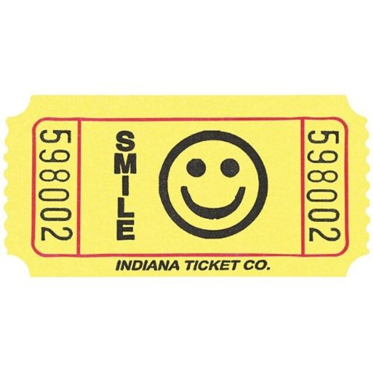 Ticket Roll Smiley Face Yellow 2000 Tickets