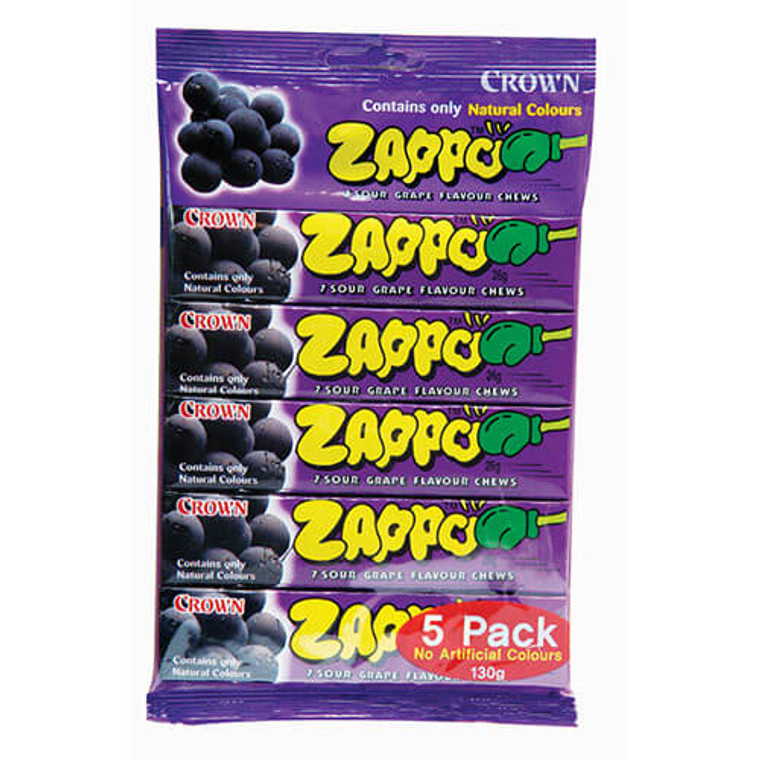 Zappo Purple Grape Lollies 5 Pack - Individually Wrapped