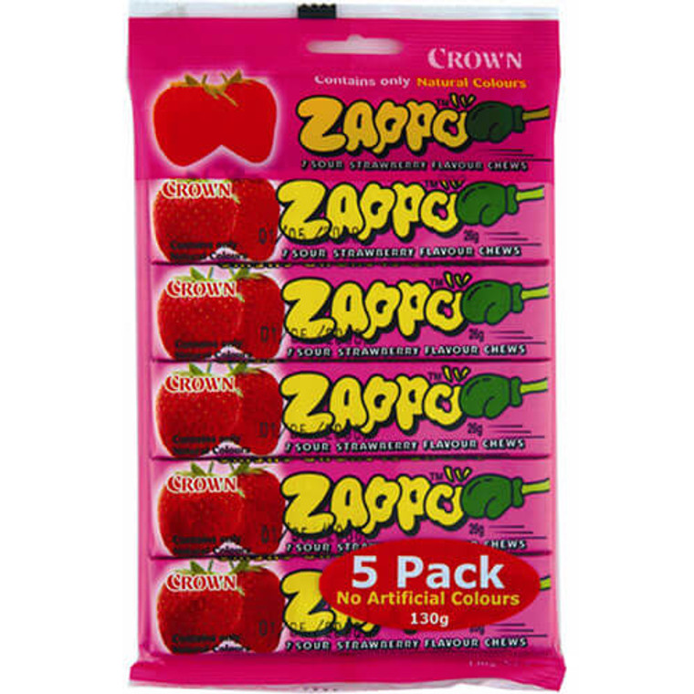 Zappo Pink Strawberry Lollies 5 Pack - Individually Wrapped
