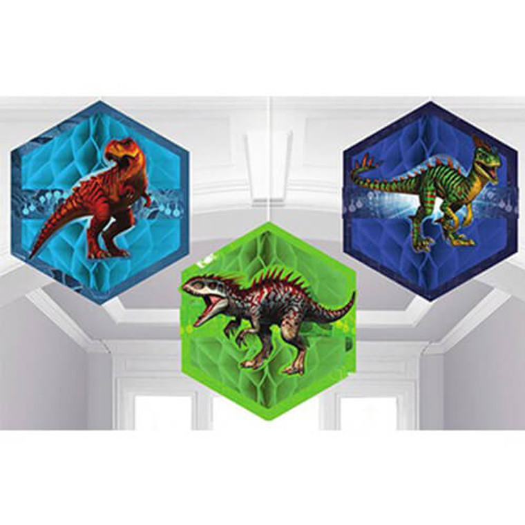 Jurassic World Honeycomb Decorations Pk 3