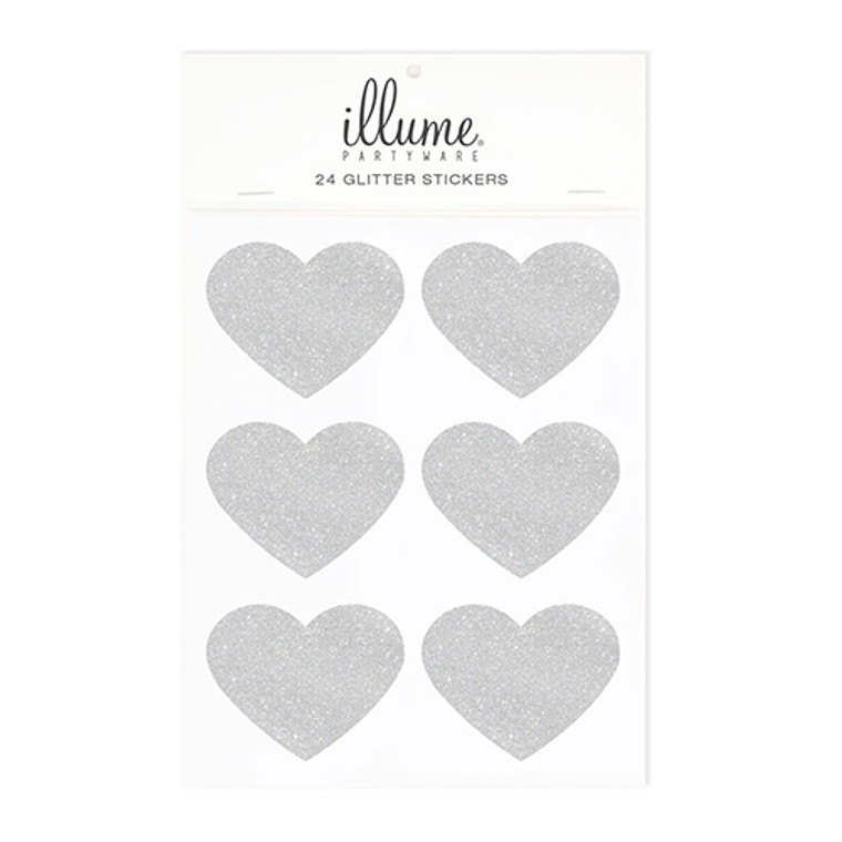 Luxe Silver Glitter Heart Sticker Seals 24pk