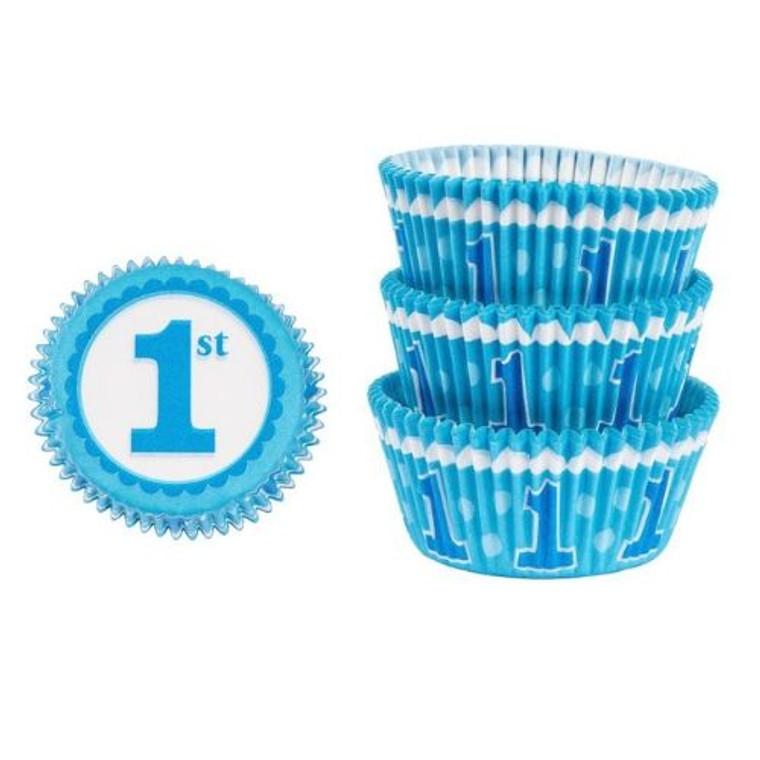 1st Birthday Blue Baking Cups Pk 75