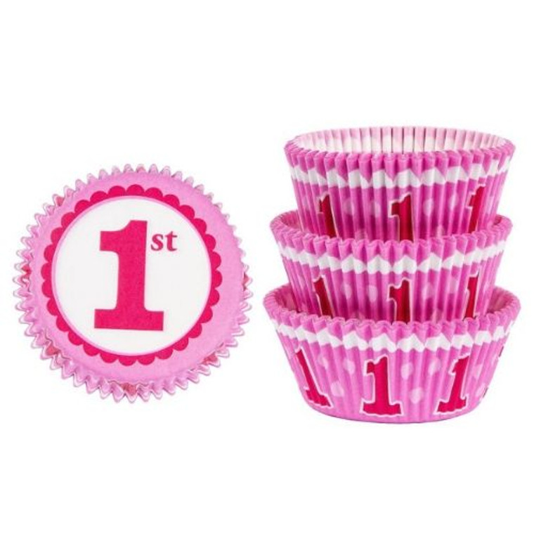 1st Birthday Pink Baking Cups Pk 75