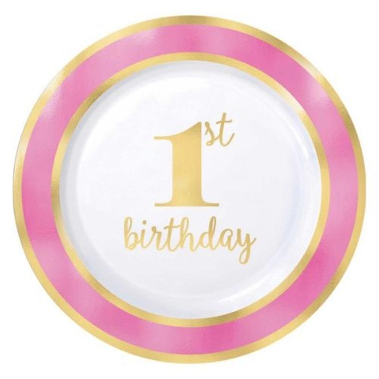 1st Birthday Pink Banquet Plates Pk 10