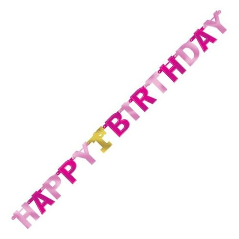1st Birthday Pink Jointed Banner