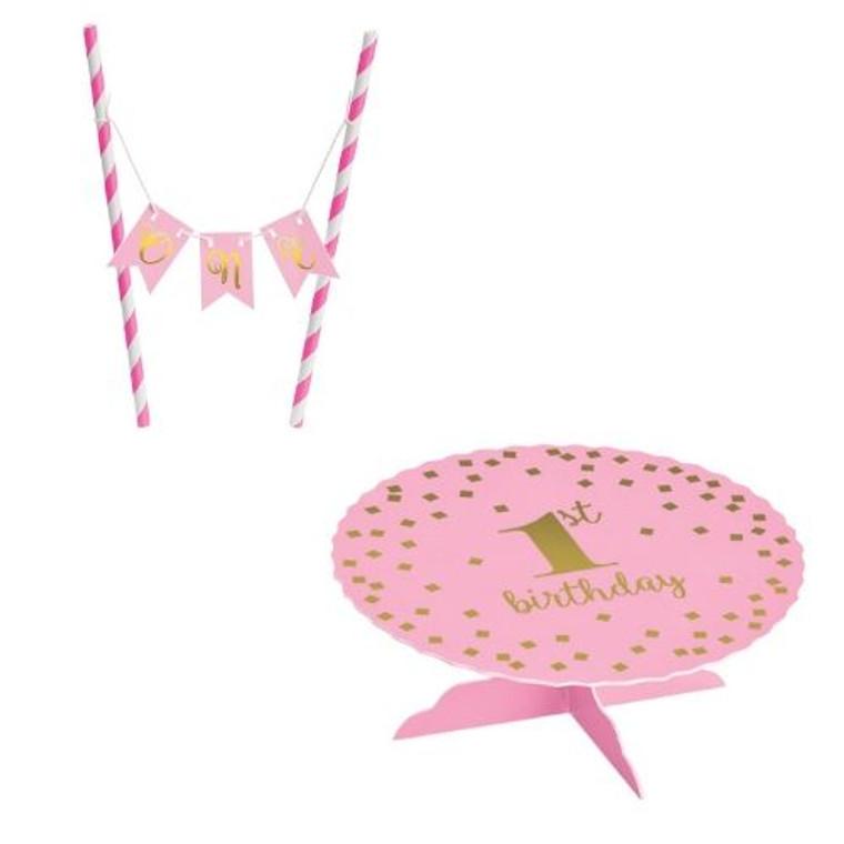 1st Birthday Pink Mini Pennant & Cake Stand