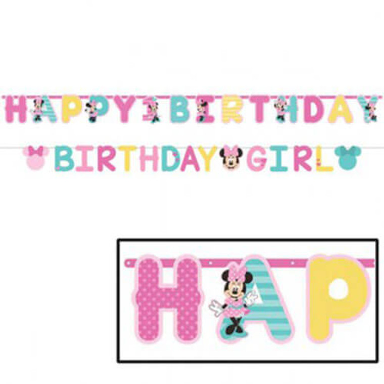 Minnie Fun To Be One Wall Banner Happy Birthday Age 3.05m