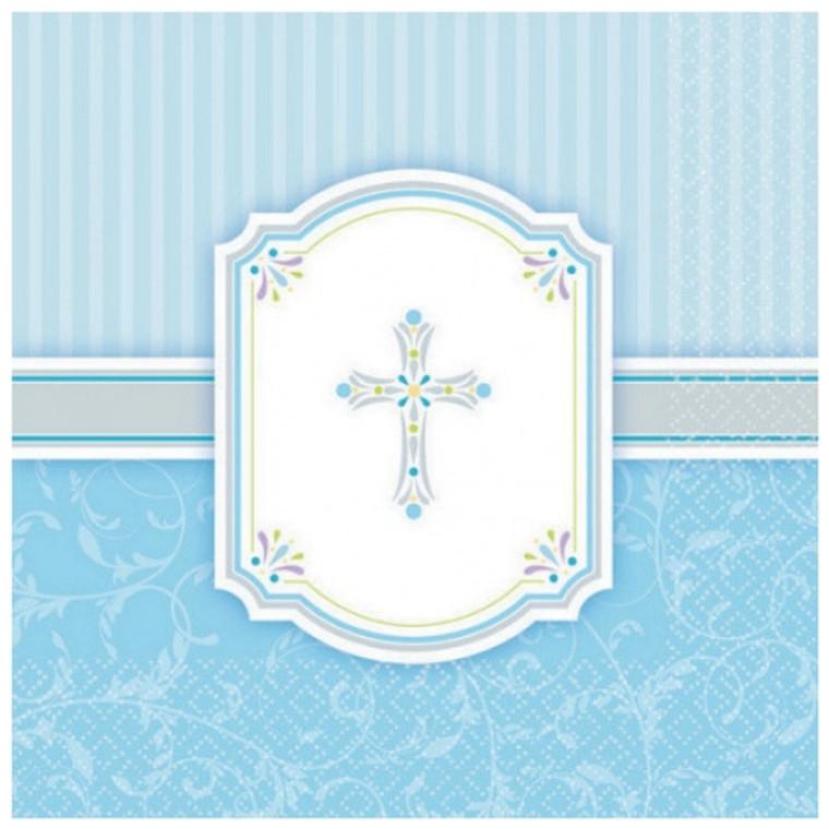 Communion Blue Blessings Lunch Napkins 16Pk
