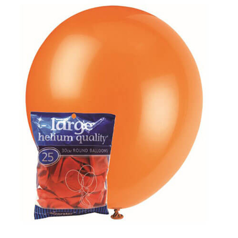 30cm Latex Balloons - Decorator Orange (25 Pack)