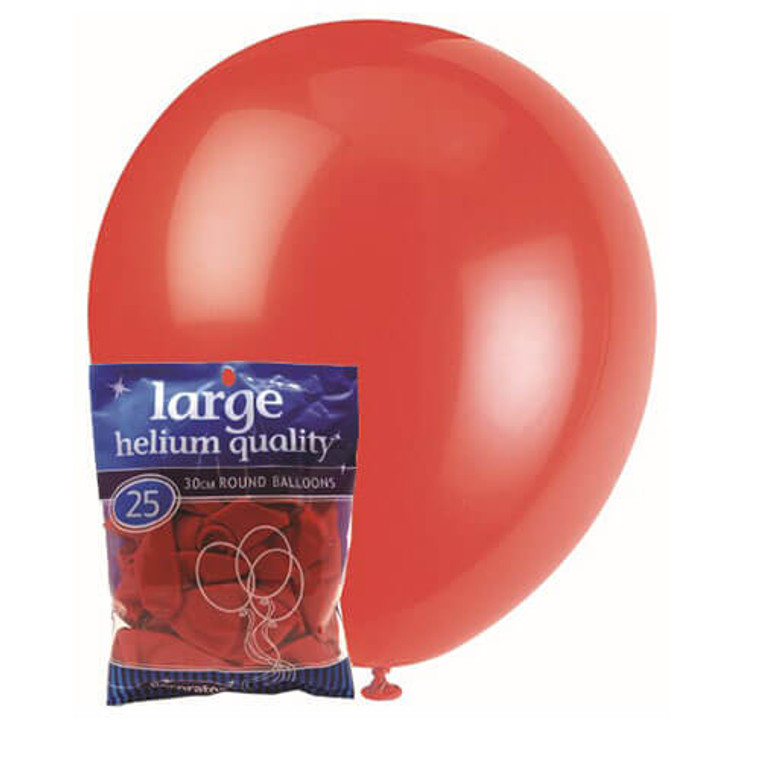 30cm Latex Balloons - Decorator Red Bright (25 Pack)