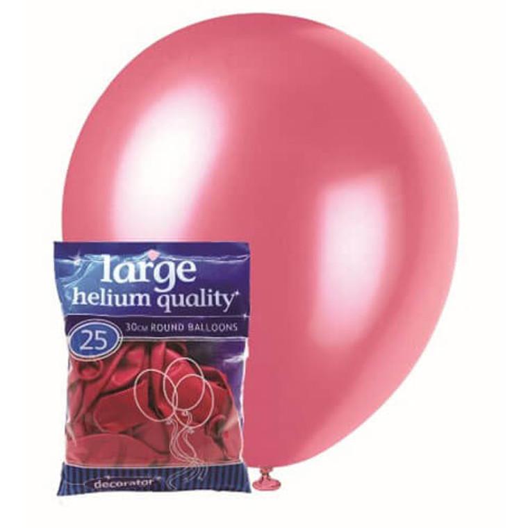 30cm Latex Balloons - Decorator Pink Bubble Gum (25 Pack)