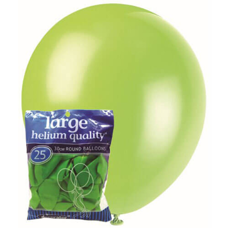 30cm Latex Balloons - Decorator Green Lime (25 Pack)