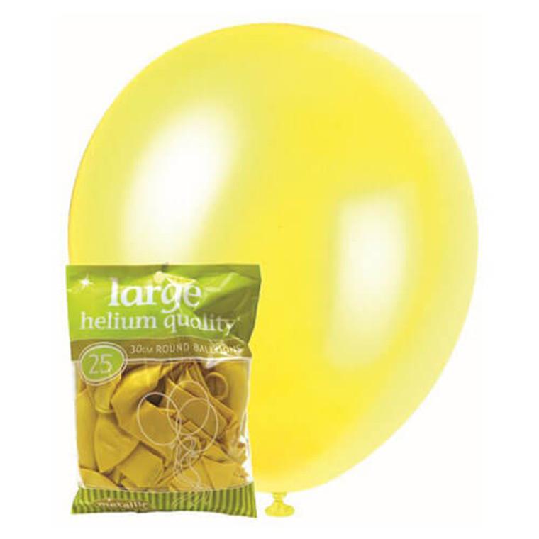 30cm Latex Balloons - Metallic Yellow (25 Pack)