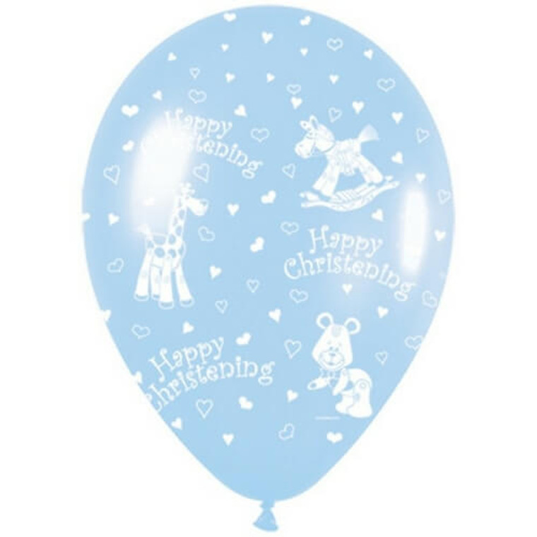 Latex Balloon 30cm - Blue Happy Christening