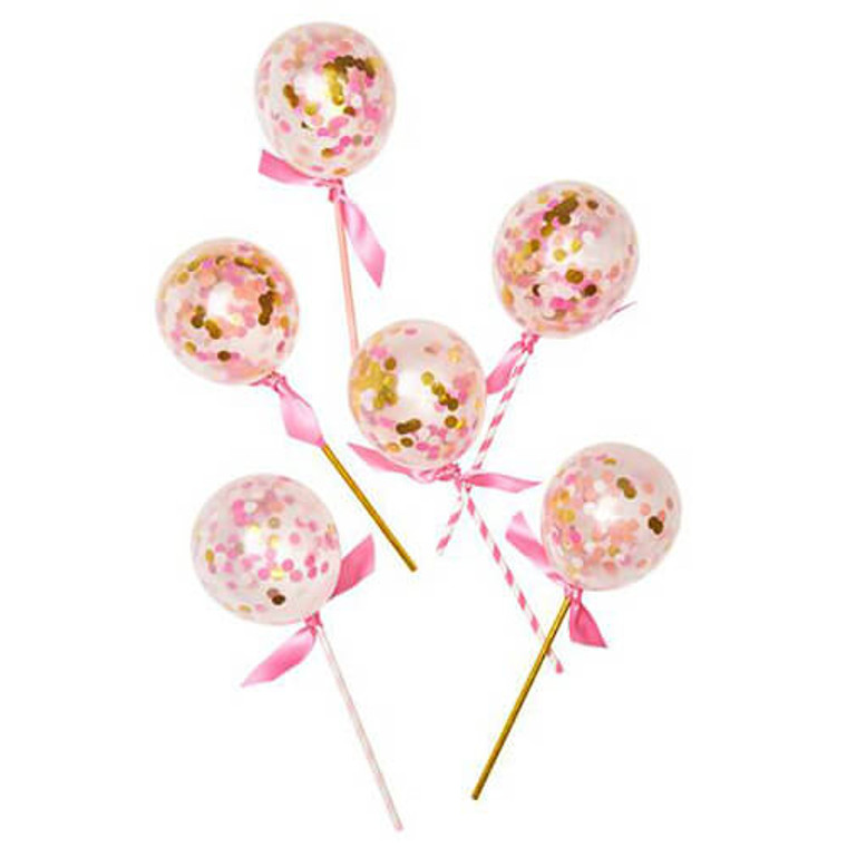 12cm Confetti Balloons - Pink Shimmer Pops 6Pk