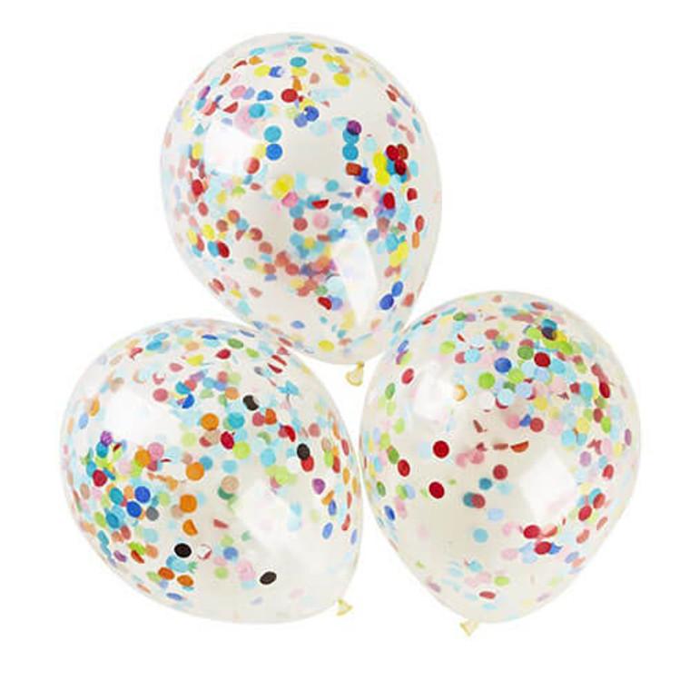 30cm Confetti Balloons - Standard Rainbow 3Pk