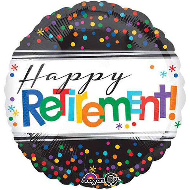 45cm Foil Balloon - Happy Retirement Dots