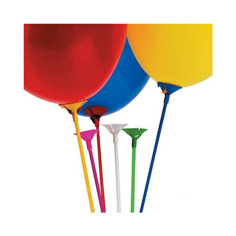 Balloon Sticks With Cups - Coloured