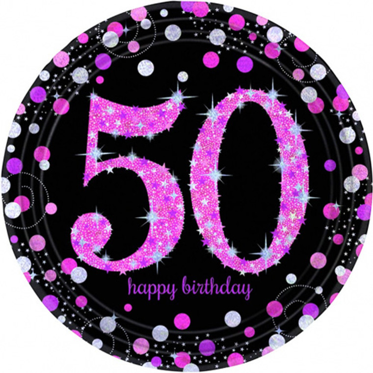 Pink Celebrations 50th Birthday Dinner Plates 8pk