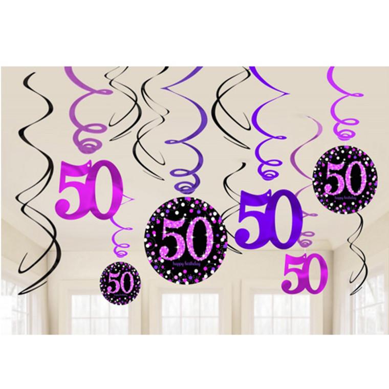 Pink Celebrations 50th Birthday Swirls 12pk