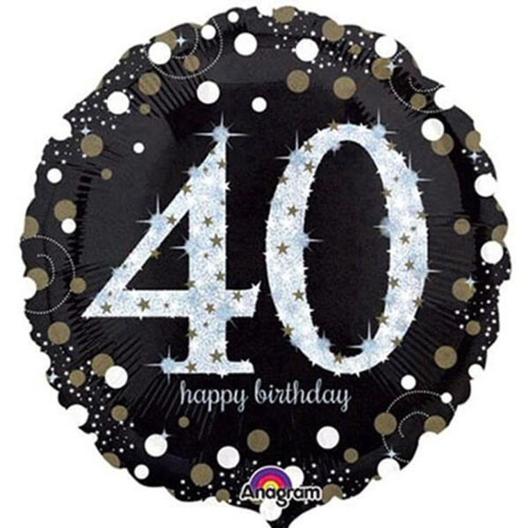 45cm Foil Balloon - 40th Birthday Holographic Silver