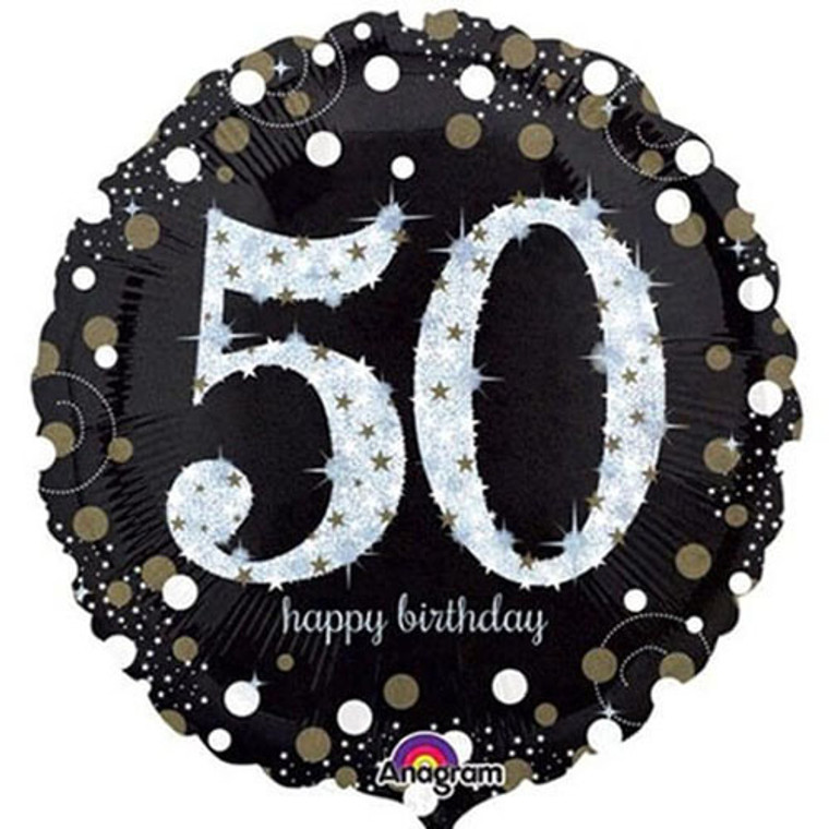 Supershape Balloon - 50th Birthday Holographic Silver