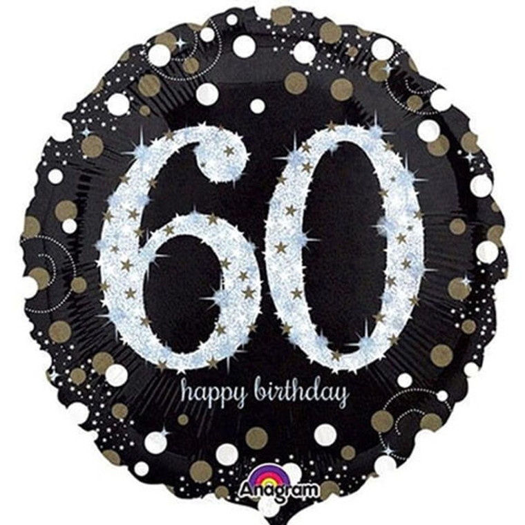 Supershape Balloon - 60th Birthday Holographic Silver