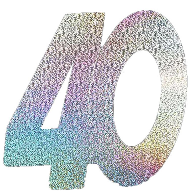 Silver Holographic '40' Foil Cutouts 3pk