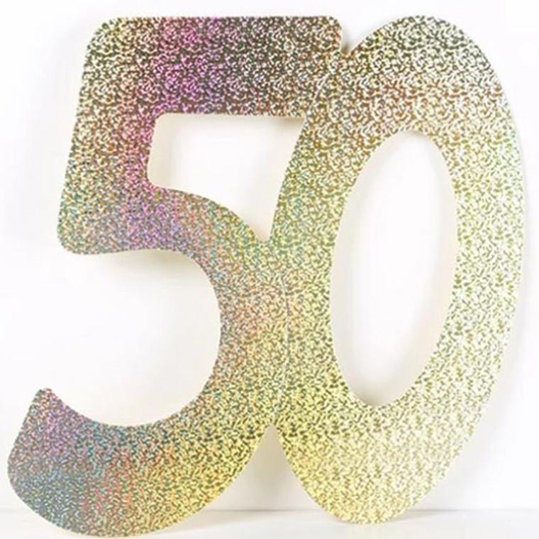 Gold Holographic '50' Foil Cutouts 3pk