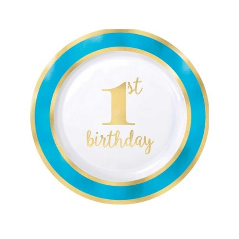 1st Birthday Blue Entree Plates Pk10